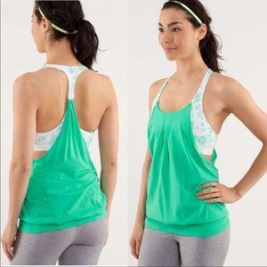 Lululemon No Limits Green Floral Tank Top Shirt